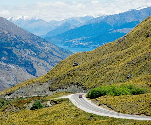 The Crown Range Road connects Wanaka to the Arrowtown Junction on the South Island of New Zealand.