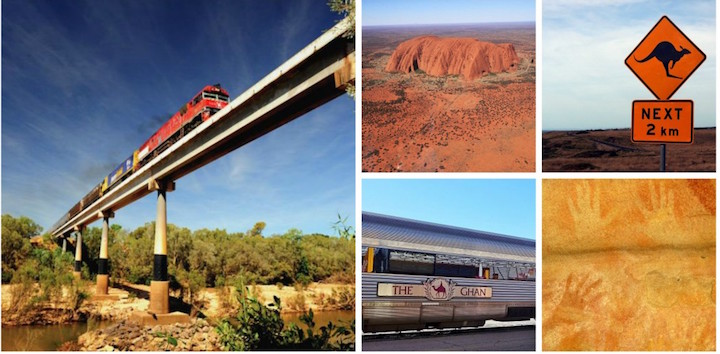 The Ghan crossing over the Katherine River - credit: Paul White (L); Uluru (C); The Ghan at Alice Springs Station credit: wiki (C); Aboriginal rock art (LR)