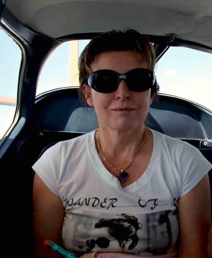 Caroline Hurry in small plane