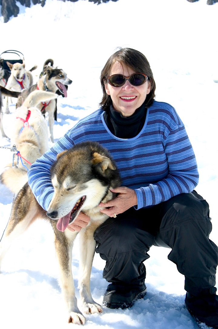 Elizabeth Hansen with Alaskan sled dogs