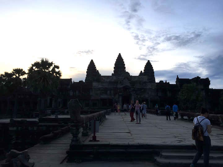 Angkor Wat on an overcast morning at sunrise.