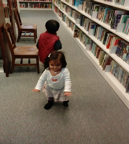 Boots & Button @ the library looking for books