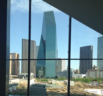 Downtown Dallas from Museum window