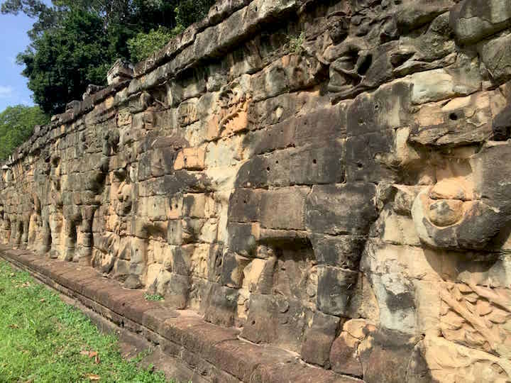 Elephant terrace alongside Bayon and Baphuon temples.