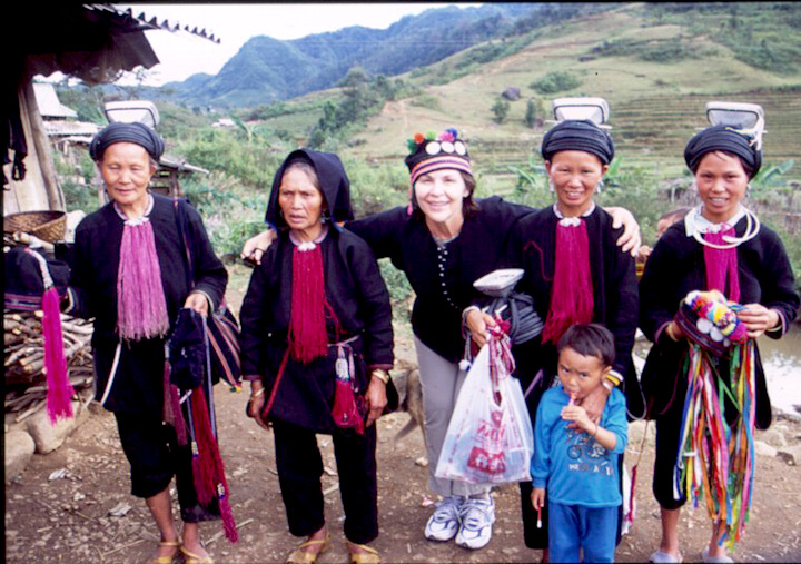 Elizabeth with women in ethnic minority hill tribe near Sapa, Vietnam.