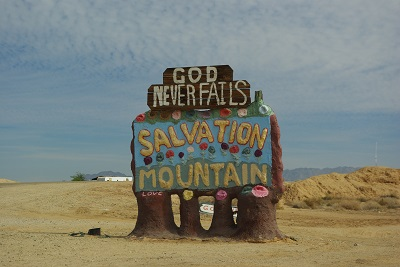 Sign to the Salvation Mountain