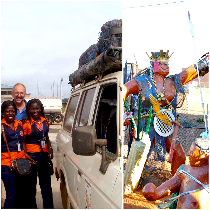 In Ghana (L), Excursion in Red sea (R)
