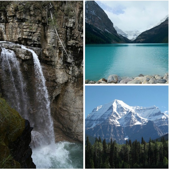 Banff (L), Lake Louise (UR), Mt. Robson (LR)