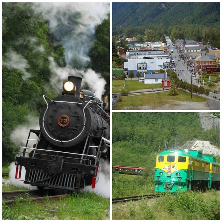 Frasier Meadows Steam Train (L), White Pass Summit Train (LR), Skagway (UR)