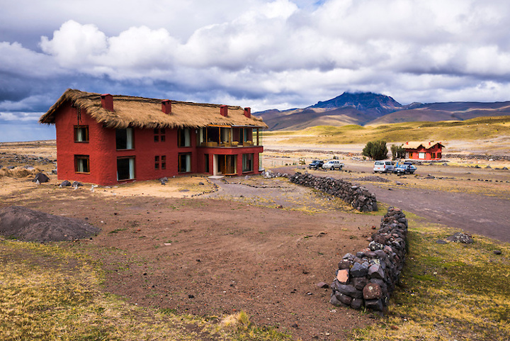 Tambopaxi Hotel and restaurant under Sincholagua Volcano, Cotopaxi National Park, Cotopaxi Province, Ecuador