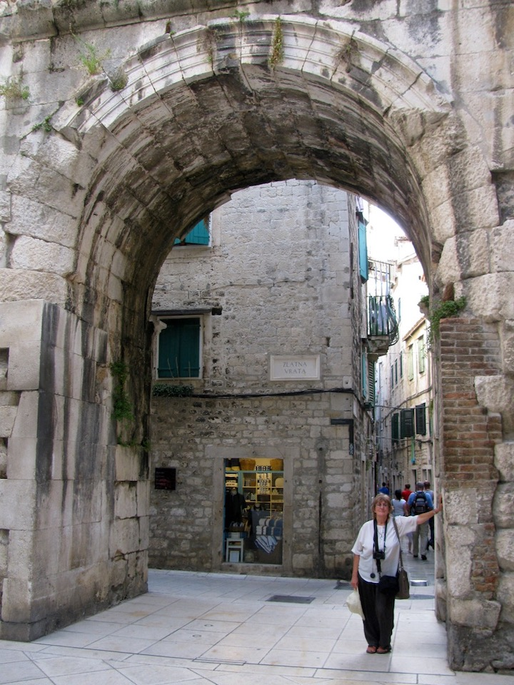 me standing at the Gold Gate in Split, Croatia