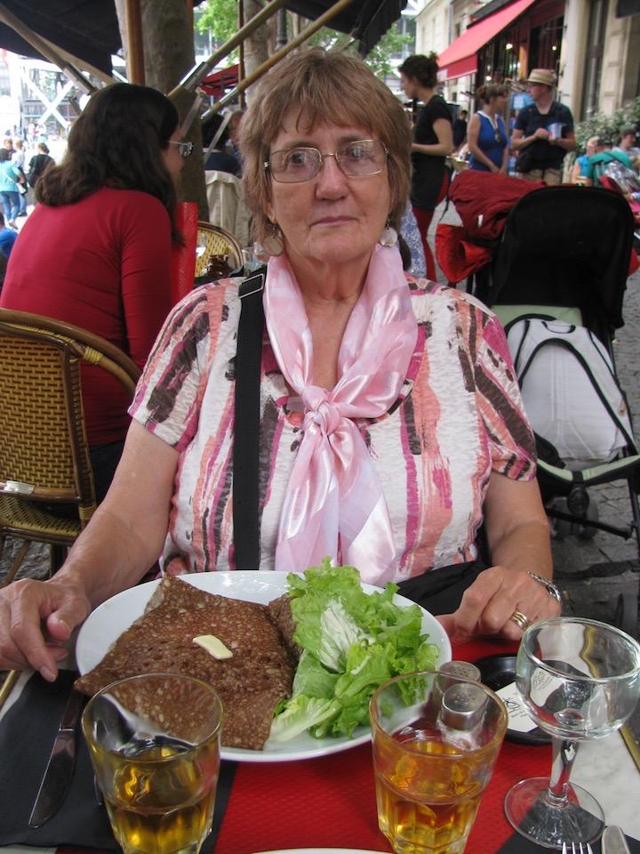 enjoying a galette (buckwheat pancake) at Creperie Beaubourg, Paris