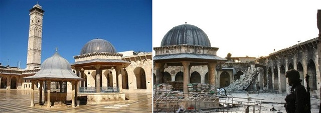 Before and after: Great Mosque of Aleppo , Credit wikipedia