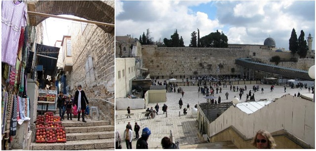 marketsteps(L) the West Plaza, with the Western Wall at the back(R)