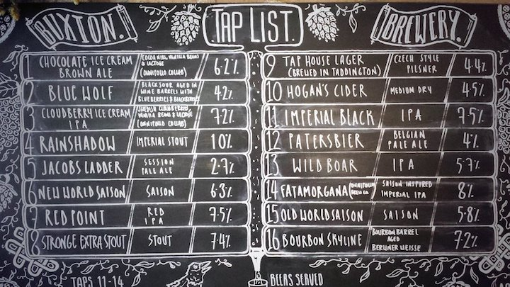 Buxton tap house beer list
