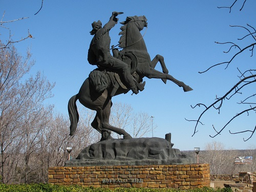 the huge statue of Buffalo Bill greets visitors