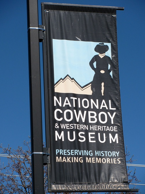Banner announcing the cowboy museum
