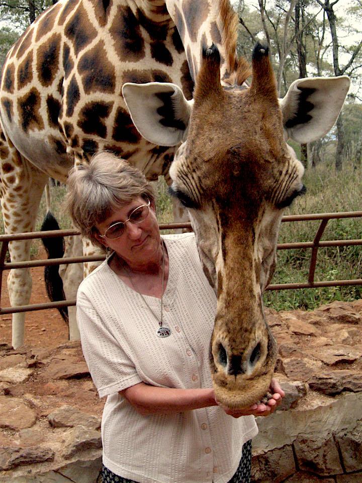 feeding a giraffe at the Giraffe Center outside Nairobi, Kenya