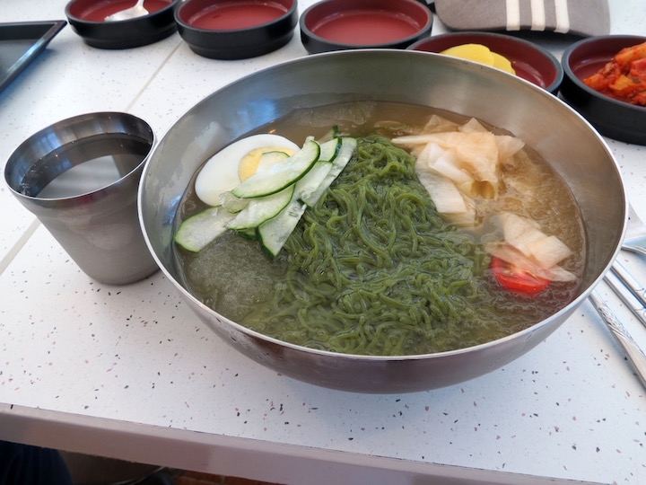 the cold green tea noodle dish was delicious