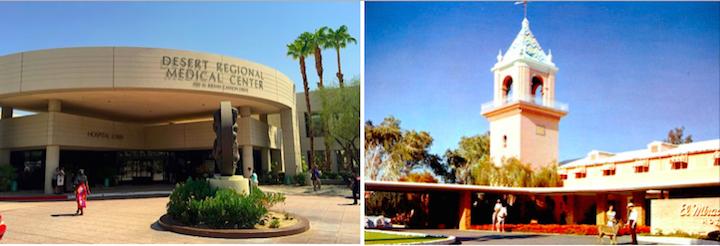 El Mirador now(L), Desert regional Medical center and Then