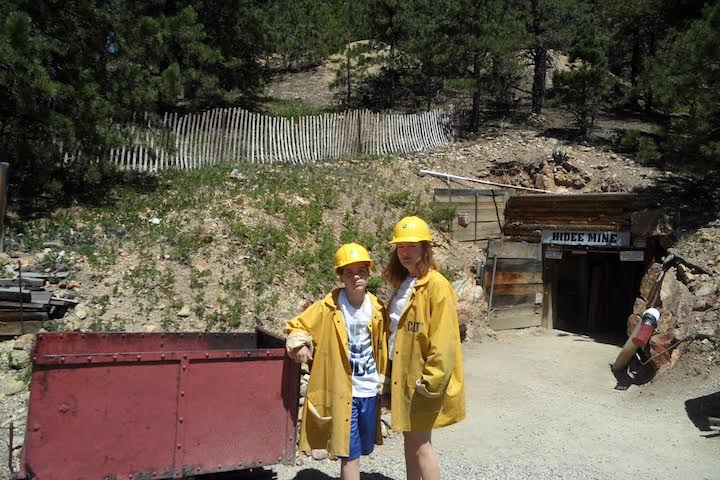My daughter Michelle and grandson Ross at entrance to the mine